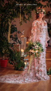 bride in a pink floral dress